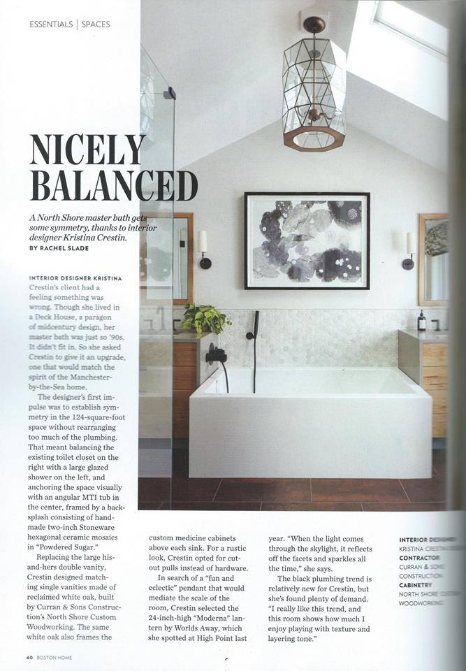 U201cArticle Title A Nicely Balanced Master Bath On The North Shore.u201d Boston  Magazine, Winter 2016.